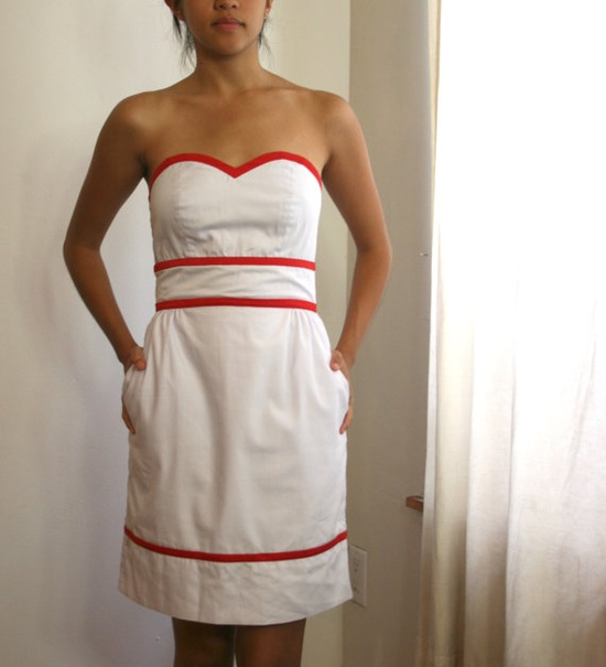 White Sweetheart Dress Red Binding Removable Halter by SevenBlooms