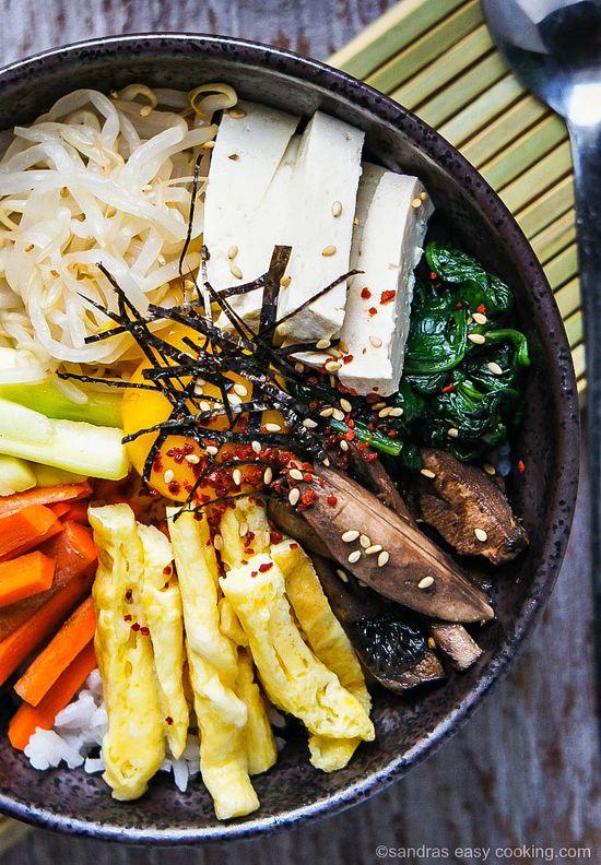 Vegetarian Mixed Rice Bowl (Bibimbap) by sandraseasycooking #Rice_Bowl #Vegetarian #Bimbimbap-To make vegan skip the eggs