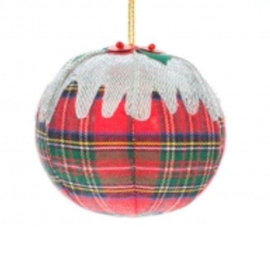 Tartan plum pudding Christmas decoration