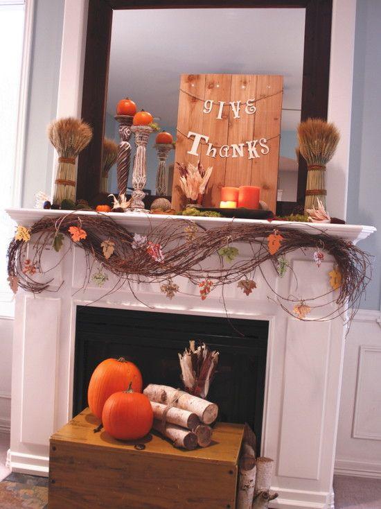 Rustic Thanksgiving mantle decorating idea
