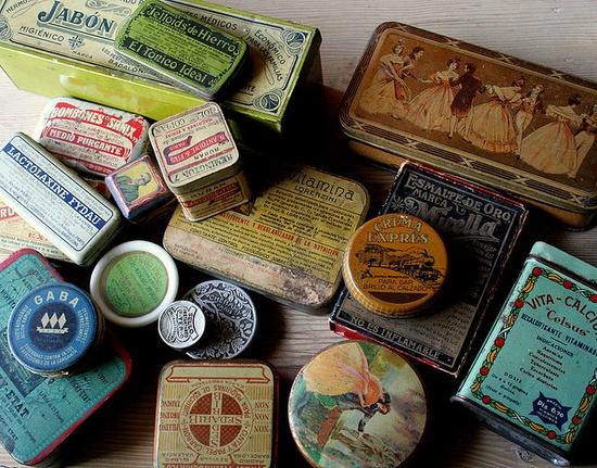 vintage boxes.