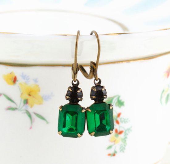 Emerald Green Earrings Vintage Green Jewels by JacarandaDesigns