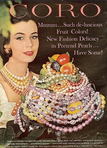 Pretend Pearls by Coro 1960. Vintage jewelry ad. inspiration brought to you by www.aussiebeader.com