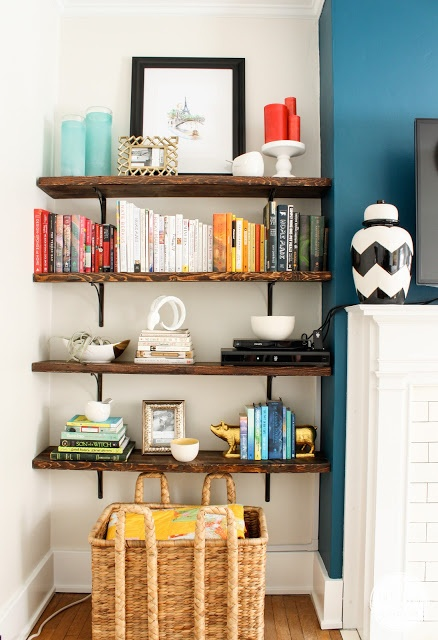 Bookcase Styling via Inspired by Charm #fortheloveofcolor