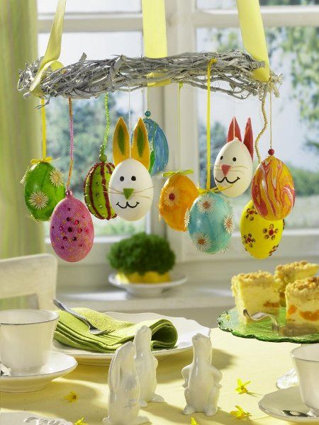 bunnies and eggs chandelier #easter #eggs