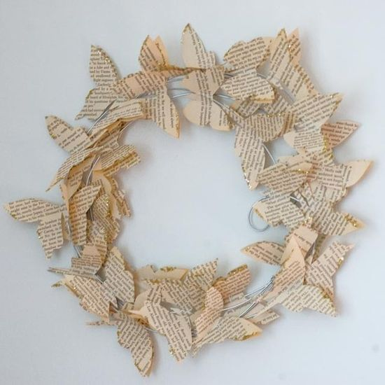 Wing of Butterfly Wreath by royalbuffet on Etsy, $30.00- Use copper wire (or other neutral) and use different color glitter (if wish) on butterfulies or hearts or whatever shape on wreath