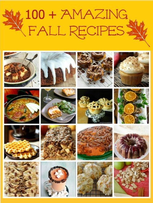100 Plus Amazing Fall Recipes from TheHopelessHousew...! #recipes #fall