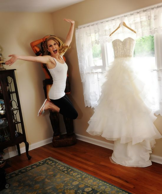 Bride jumping up