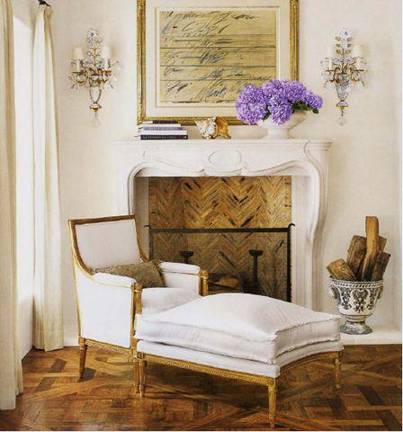 Love the visual consistancy in the parquet wood floor and thin herringbone brick, Renea Abbott
