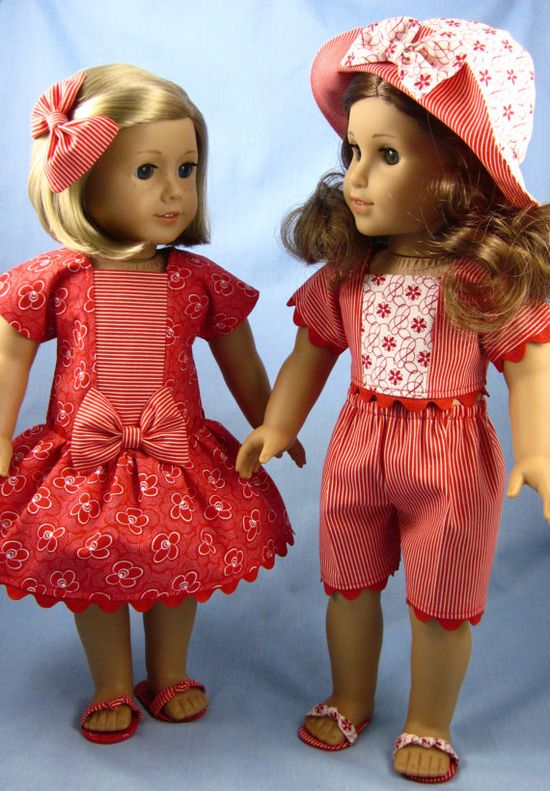 American Girl Doll Clothes  Red Wardrobe by SewMyGoodnessShop, $45.00