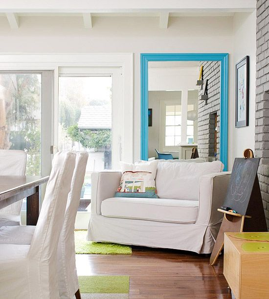 cheerful turquoise mirror frame