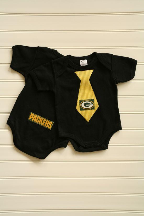 Green Bay Packers Tie Onesie or Shirt. $14.00, via Etsy.