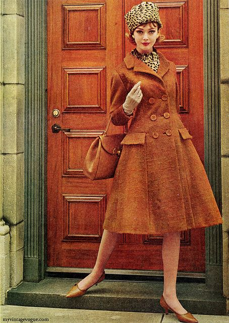 Love this #rust hued early 1960s double breasted princess coat. #vintage #retro #1960s #fashion #coat