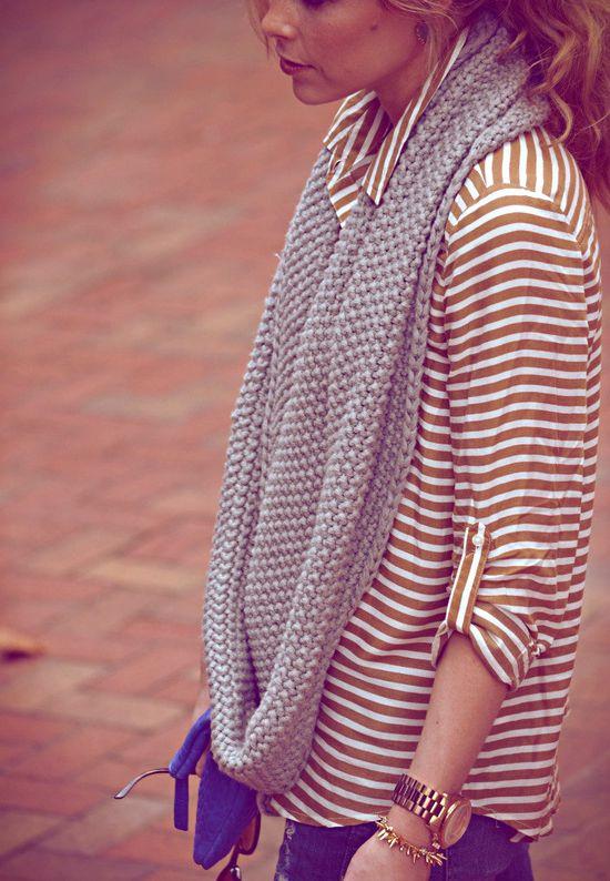 infinity scarf + stripes.