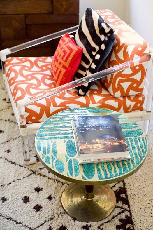 Mix of patterns #orange #black #white #teal