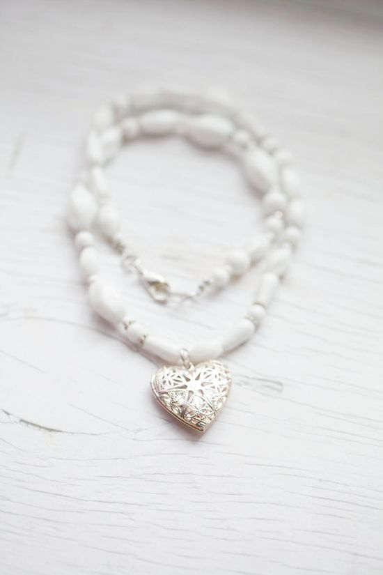 White glass beads necklace with heart medallion
