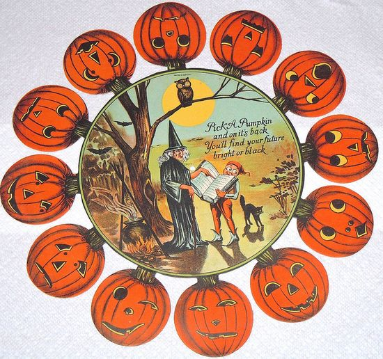 """Vintage Halloween Game ~ Dennison Fortune Telling Game * """"Pick a pumpkin and on it's back, You'll find your future bright or black""""."""
