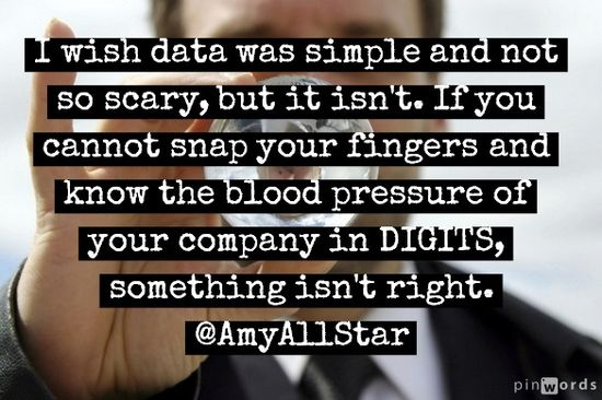 I wish data was simple and not so scary, but it isn't. If you cannot snap your fingers and know the blood pressure of your company in DIGITS, something isn't right. -Amy Larrimore