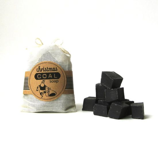 Ha! Lumps of coal for Christmas! Christmas Coal Soap   Black Unscented Vegan Soap by prunellasoap, $6.50