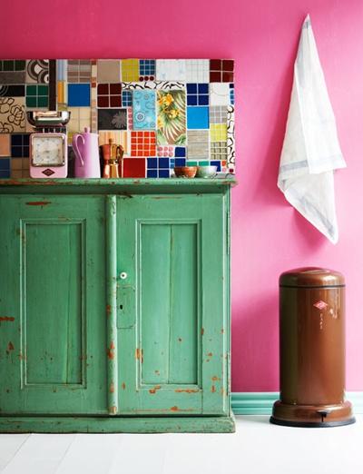Country cool: diy colorful tile backsplash