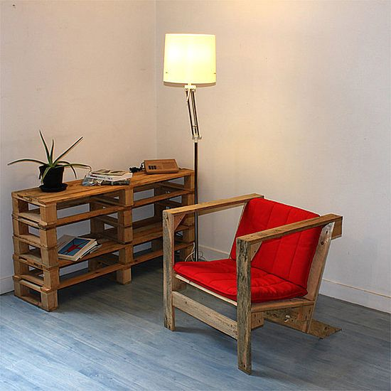 A Cupboard and an Armchair from Pallets