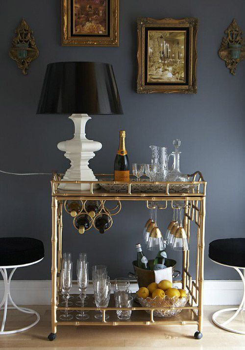 bar cart. Love the paint color