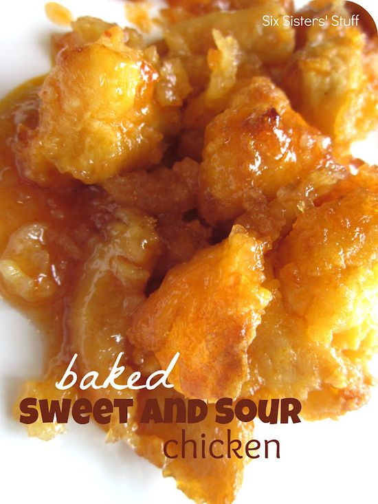 Baked Sweet and Sour Chicken - love this crispy baked chicken - without the sauce it is wonderful chicken nuggets for my granddaughters.