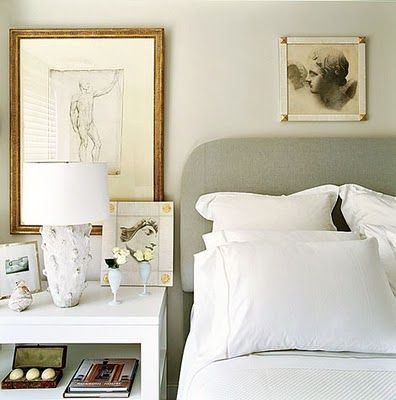 Lived in but calming grey bedroom.