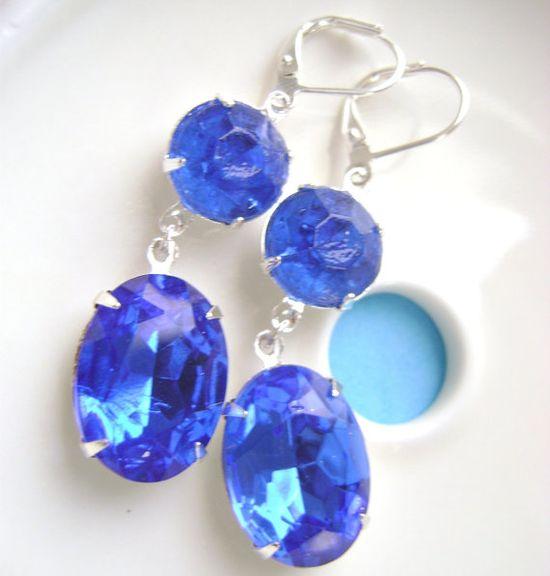 Sapphire Blue Earrings Estate Style by RachellesJewelryBox on Etsy