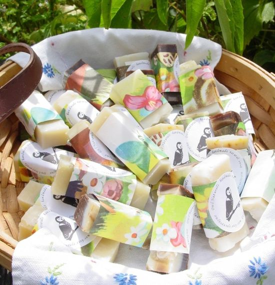 Handmade Soap Favours wrapped in vintage childrens book pages