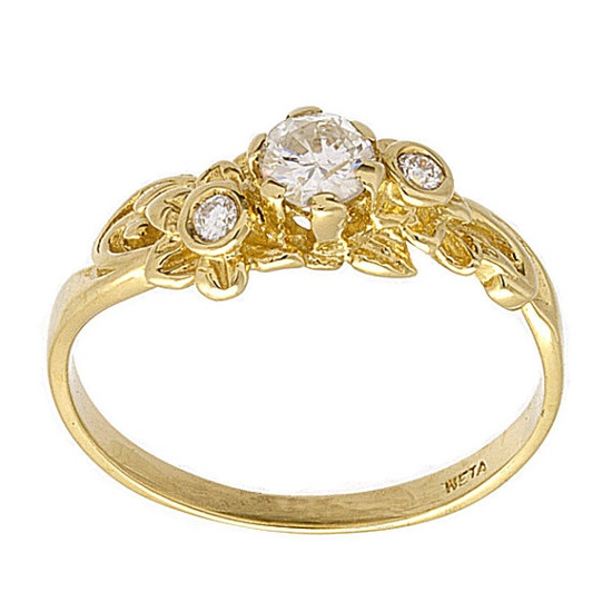 Floral Bouquet Diamond Engagement Ring in 14k Yellow Gold