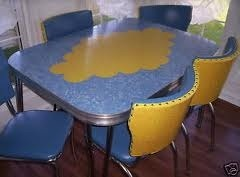 Vintage Blue And Yellow Dinette Set