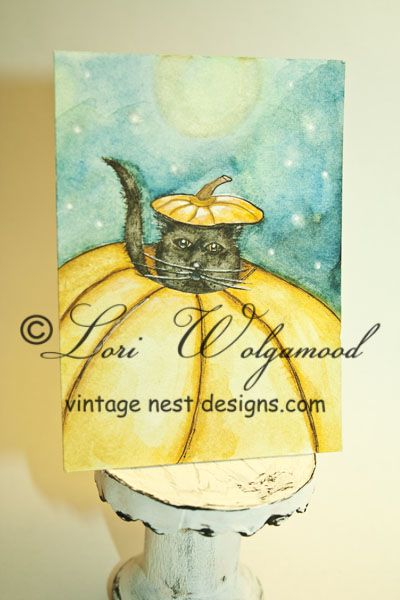 ACEO - Pumpkin Kitty - Halloween Watercolor Print : Vintage Nest Designs, Creative Handmade and Hand Painted Designs