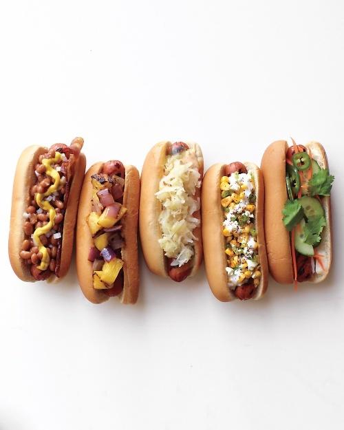 Frank and Beans, Hawaiian Dog, Reuben Dog, Mexican Charred-Corn Dog, and Banh Mi Dog Recipes.