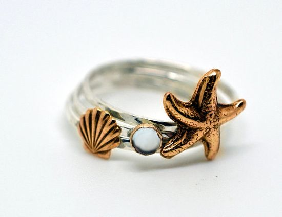 Seashell, Starfish, Gemstone, Stackable Sterling Silver Rings, Hammered Silver, Stacking, Nautical Rings, Seaside Rings