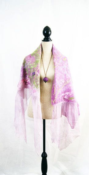 Pink Purple Green Lavender Evening Nuno Felted by elenasfelting, $110.00