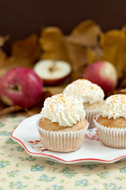 Fabulously fall-ish! :) Apple Cupcakes with oodles of creamy frosting. #cupcakes #apples #dessert #food #autumn #fall #Thanksgiving