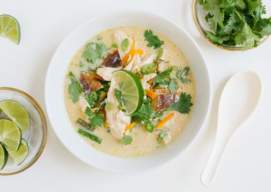 Thai Chicken Soup Loosely based on the Thai soup Tom Kha Gai, this version comes together in under an hour with easy to find ingredients. (310 cal per serving)