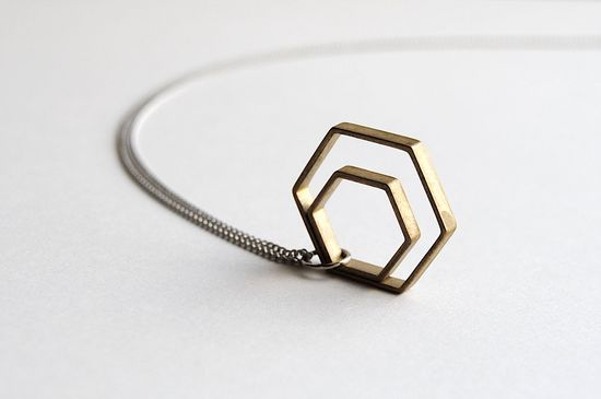 Minimalist Hexagon Necklace - Summer & Fall Fashion Jewelry - Free Shipping in the US. $24.00, via Etsy.