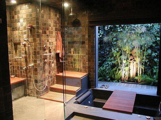 Walk-over bathtub, courtyard garden, indoors-outdoors, wet room