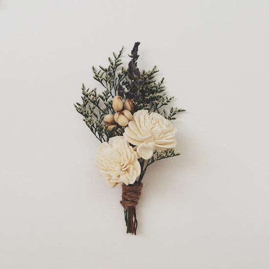 Natural Sola Boutonniere Pin by ThreeLittleBirds1222 on Etsy, $11.00
