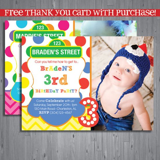 Sesame street Birthday Invitation, first birthday party invitation, elmo birthday, party invitation printable, FREE thank you card, INSPIRED on Etsy, $15.00