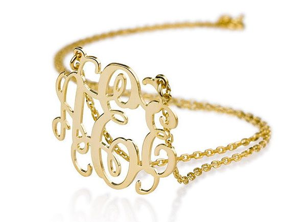 Monogram Necklace - 0.8 inch Personalized Monogram - Sterling silver 18k gold plated Name Necklace on Etsy, $39.99