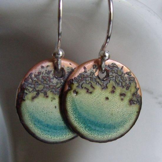 Organic Blue Aqua--- handmade turquoise ocean enamel on copper and sterling silver small hoops earrings     $26.00     @VerreEncore