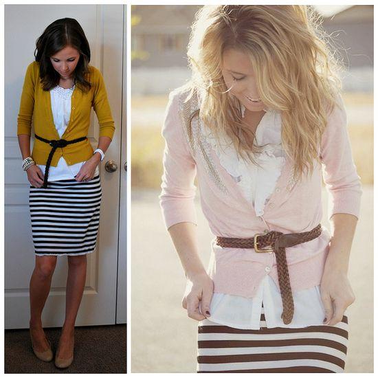 stripe skirt cardigan and belt