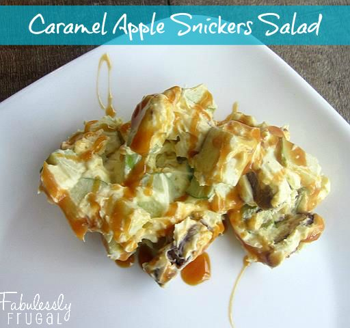 caramel apple snickers salad with pudding