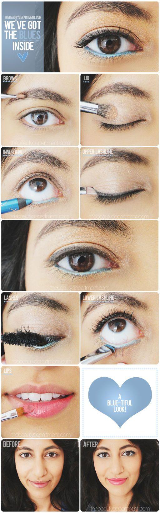 DIY Five Minute Makeup Pop blue girl makeup make up diy eyeshadow diy ideas do it yourself easy diy brush diy tips diy makeup diy fashion diy tutorials brows