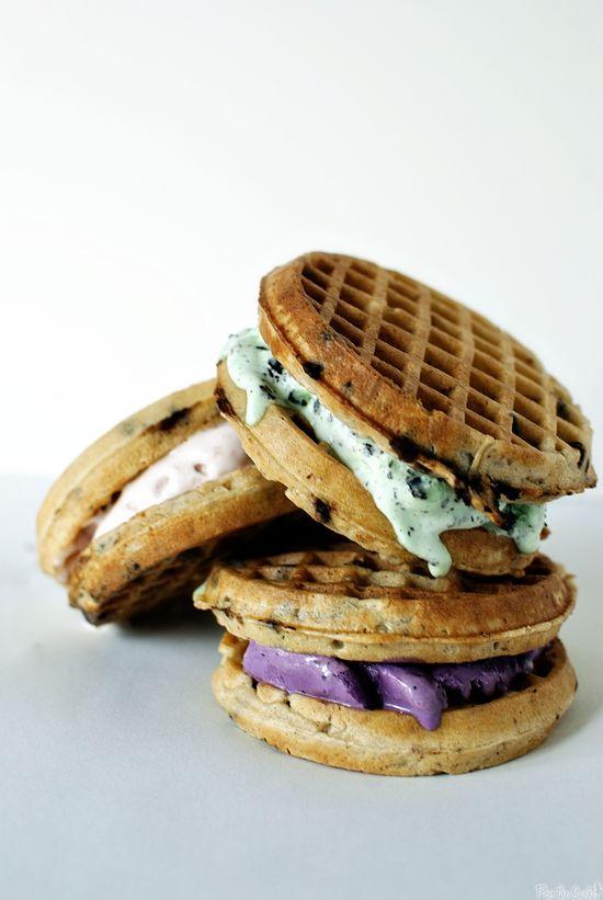 Nomnomnom: waffle ice cream sandwiches.