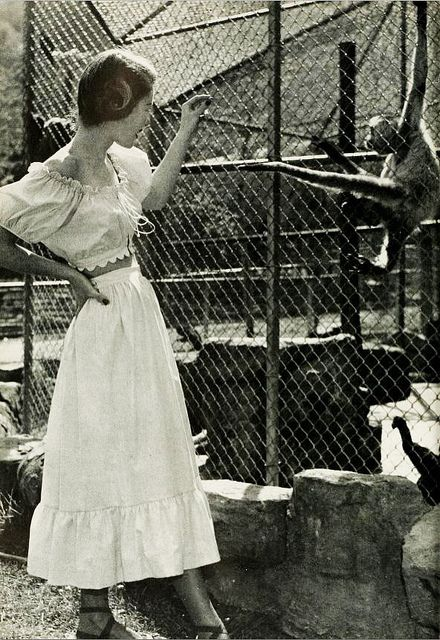 Charming peasant inspired Madalyn Miller fashions for a day at the zoo, 1946. #vintage #1940s #summer #fashion