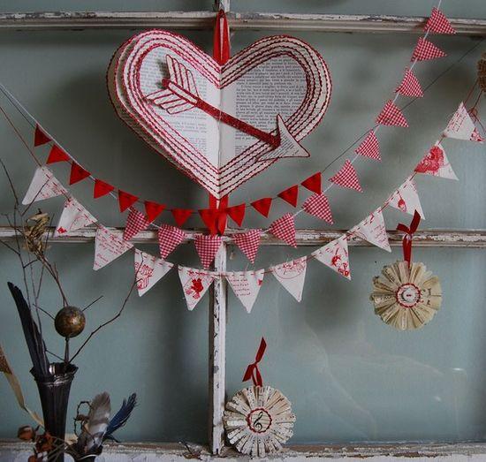 Valentine banner. Love the three little banners.